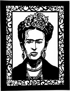 """Frida Kahlo with Flowers"" by Linda Garcia using Papel Picado"