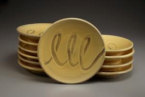 """Dessert plates.  5"""" dia. 2013. ceramic"""